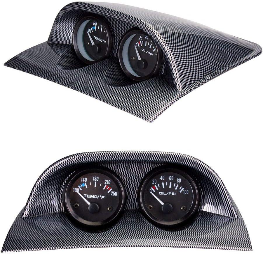 Mdurian 2 52mm Kohlefaser Universal Doppelloch Auto Messger/ät Pod Halter Gauge Halterung Messger/ätehalter Bracket Instrumentenhalter
