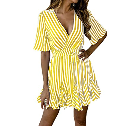 0cbfacf7fd Amazon.com: Women's Printed Dresses Striped Short Sleeves Skirts Casual  Knee-Length Dress Cotton V-Neck Dress With Pockets Loose Top: Kitchen &  Dining