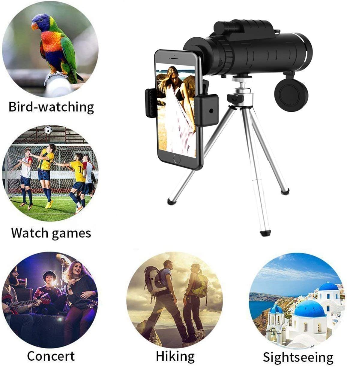 OKL2 Monocular Telescope High Power Monocular Scope Waterproof Monoculars with Phone Clip and Tripod for Cell Phone for Bird Watching