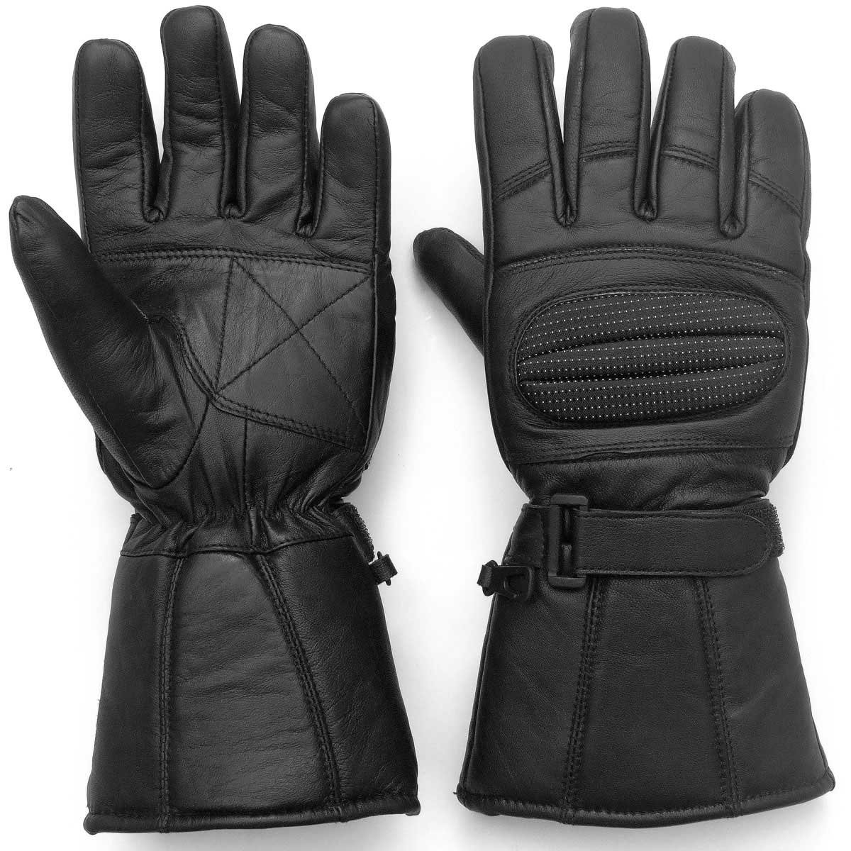 Leather gauntlet driving gloves - Amazon Com Leather Gloves Gauntlet For Biker Motorcycle Scooter Heavy Duty Winter Black S Automotive