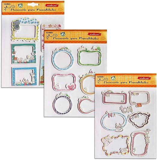 131921 - Pack de 3 láminas de pegatinas de goma eva, mini marcos ...