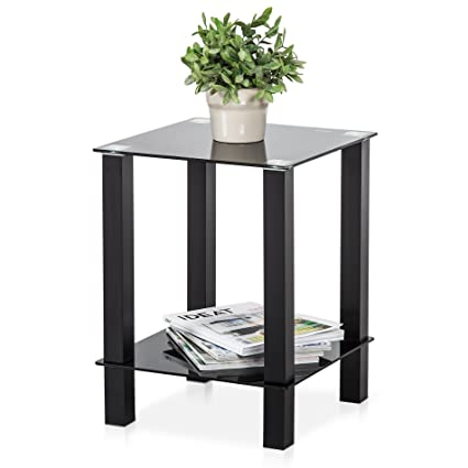 Charmant Fitueyes Black Glass U0026 Two Tier Square Side Table/Lamp Table/End Table,
