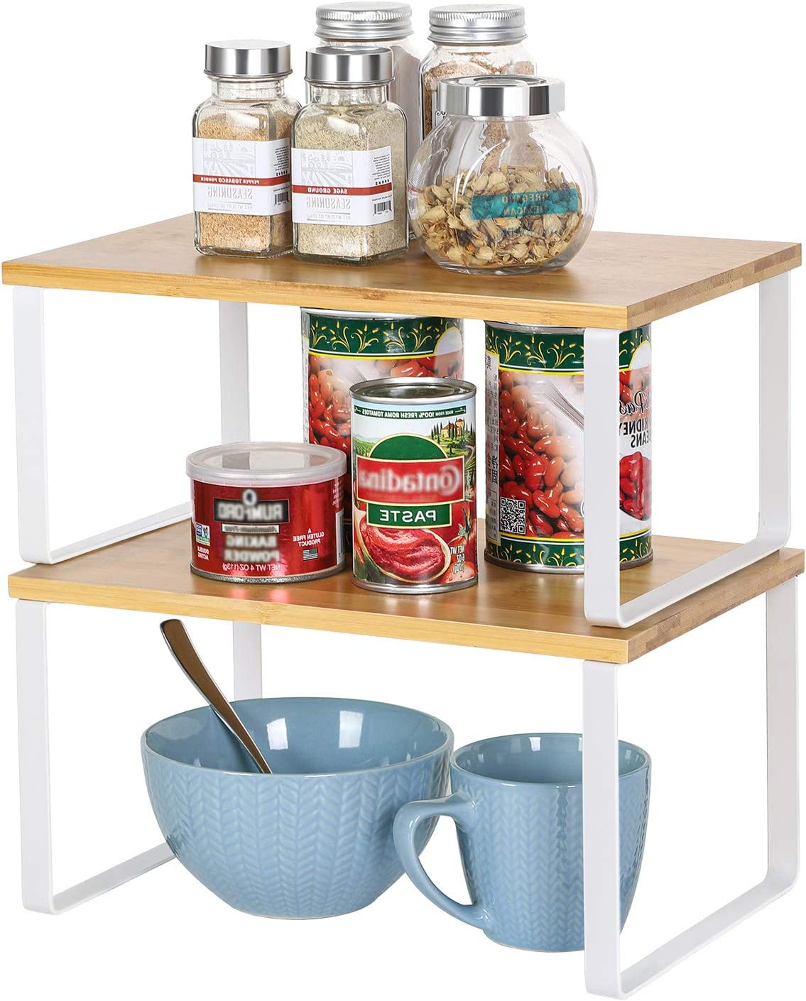 NEX Bamboo Kitchen Cabinet and Counter Shelf Organizer, Stackable & Expandable, White and Natural
