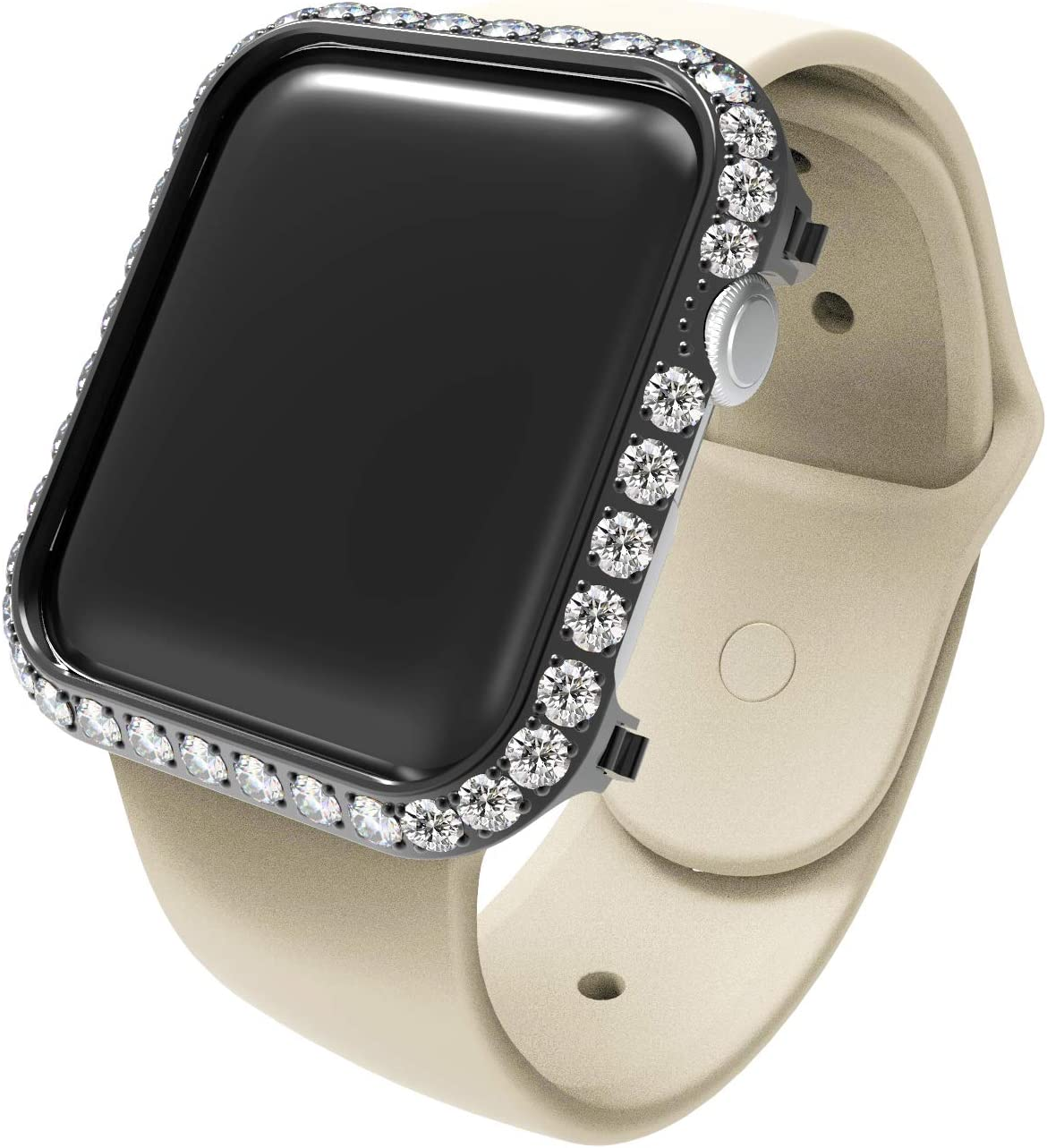 Callancity Compatible Bling Watch Bumper Metal Rhinestone Crystal 3.0 Big Diamond Jewelry Bezel Case face Cover Compatible for Apple Watch Series 5 4 44mm(black)