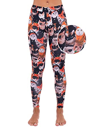 Amazon.com: Halloween Cat Leggings - Cute Cat Halloween Costume ...