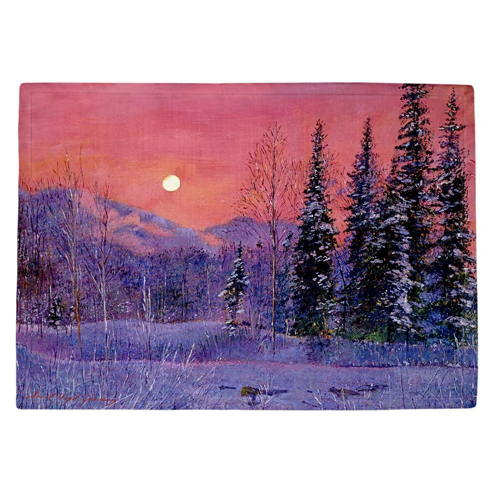 DIANOCHEキッチンPlaceマットby David Lloyd Glover – Rising雪Moon Set of 4 Placemats PM-DavidGloverRisingSnowMoon2 Set of 4 Placemats  B01EXSI3JO