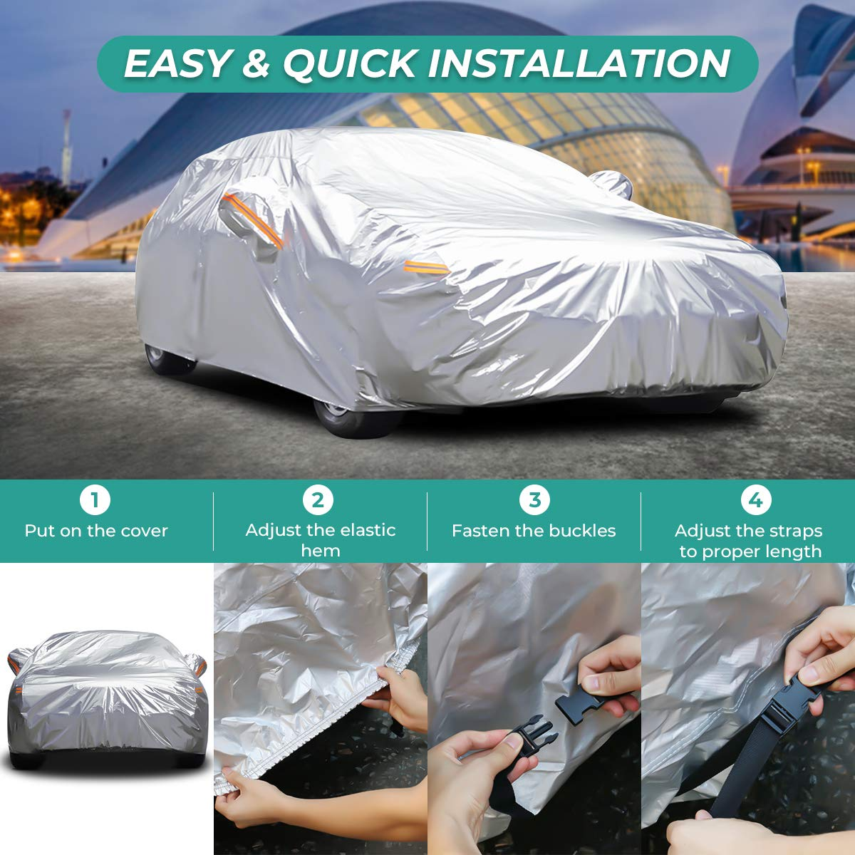 187L*76W*56H inch for Sedan Audew Full Car Cover Snow Cover 6 Layer Breathable Sun Shade Protector Waterproof Car Cover Windproof Silver White YL