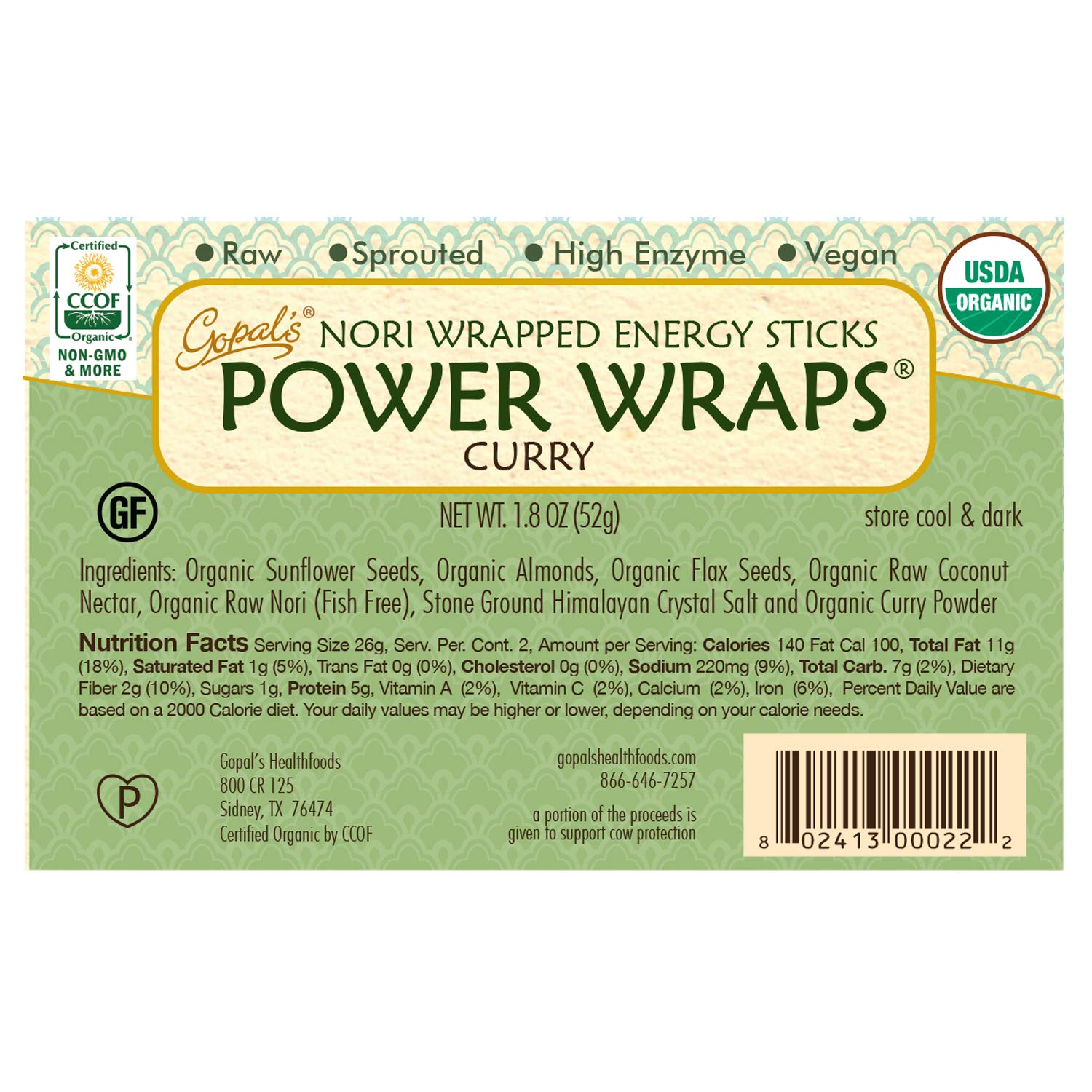 Gopal's Curry Power Wraps, Vegan and Gluten-Free Organic Food, Raw and USDA Certified Nori-Wrapped Energy Sticks 1.8 Ounces (Pack of 24) by Gopal's (Image #3)