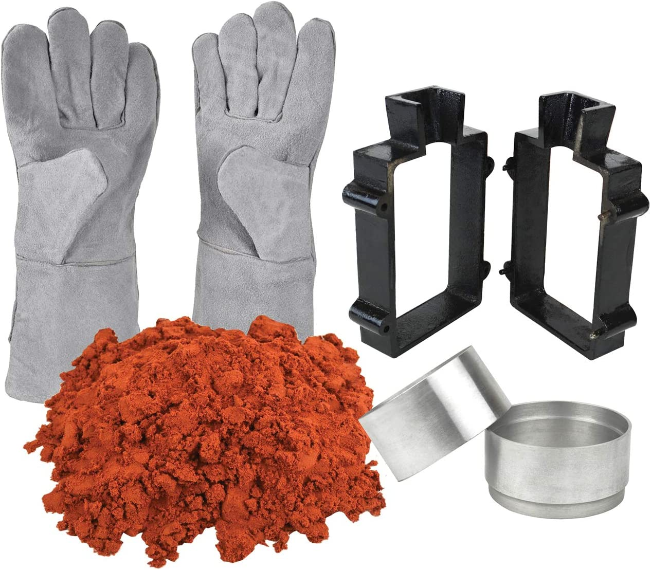 Sand Casting Set 10 Lbs Petrobond Quick Cast Sand Clay Safety Gloves Aluminum Round Molds Cast Iron Flask Frame Melt Pour Metals