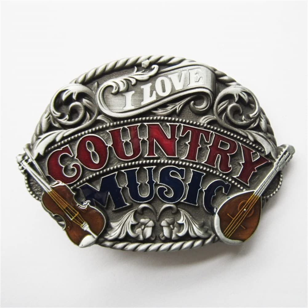 New Vintage Enamel I Love Western Country Music Belt Buckle also Stock in US