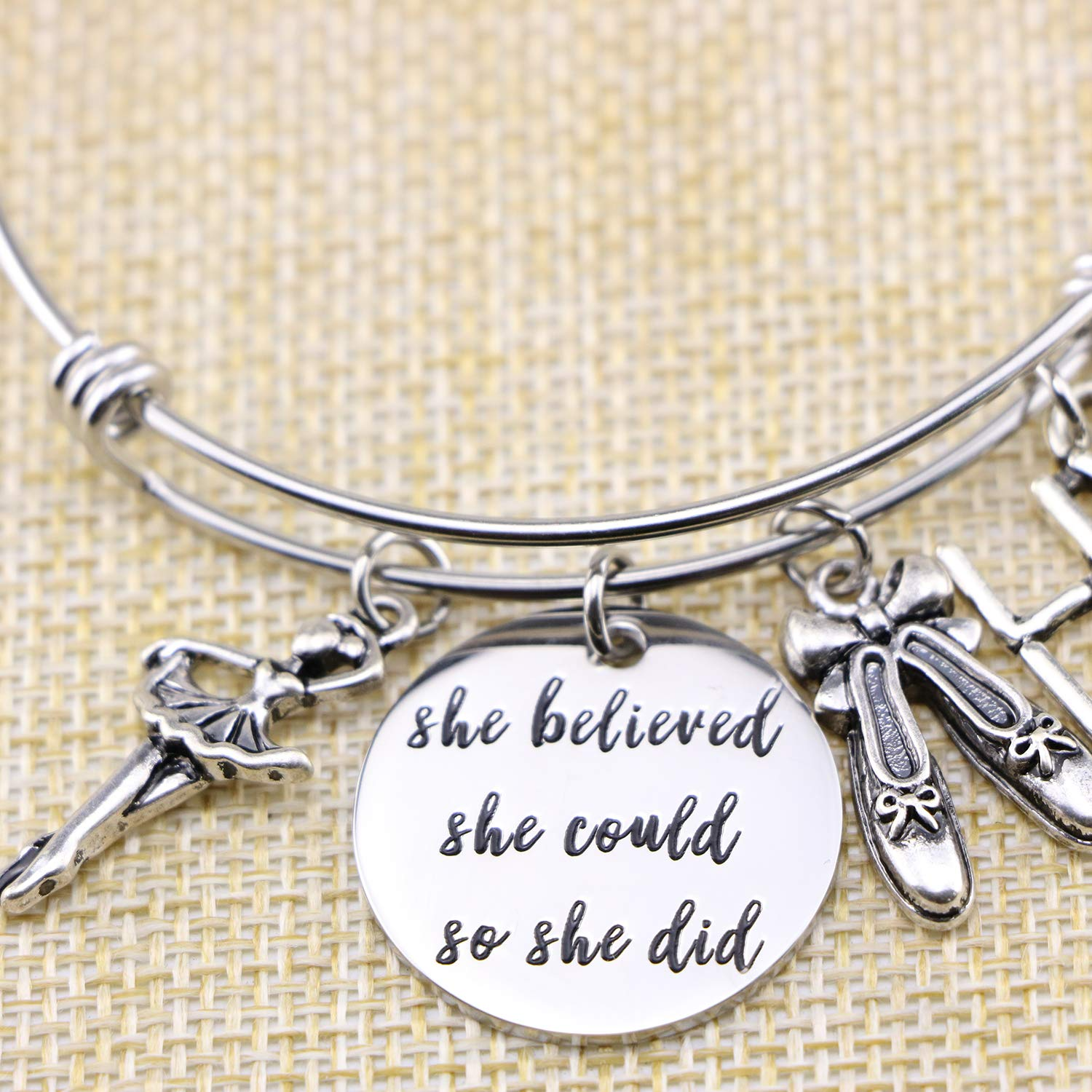 Yiyang Dancer Gift for Girls She Believed She Could So She Did Bracelet Inspirational