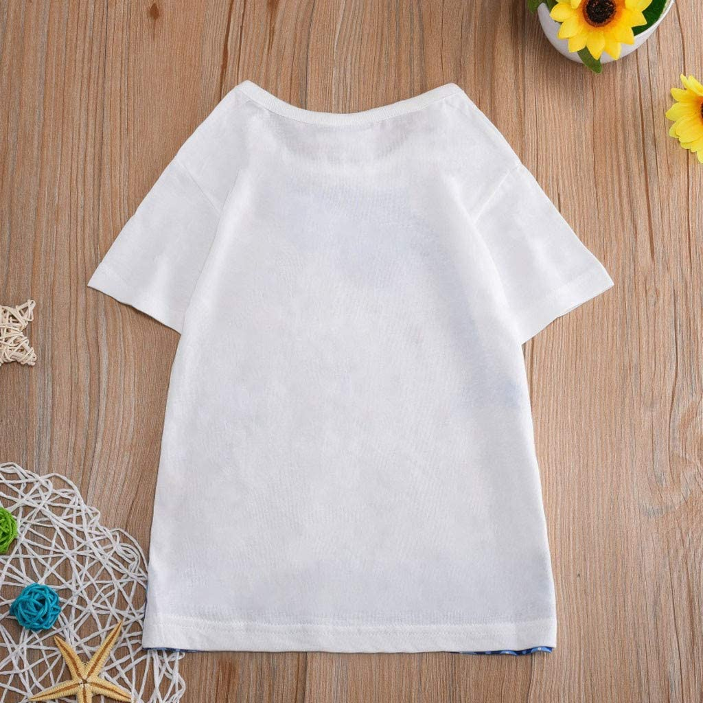 TIANRUN Unisex Children Baby Short Sleeve Cartoon Print Crewneck T-Shirt Tops Tee Home Wear Clothes