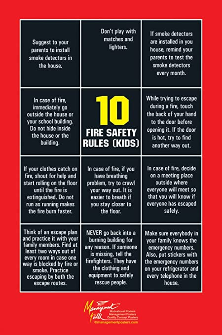 ManagementTalk Posters 10 Fire Safety Rules Wall Poster Various