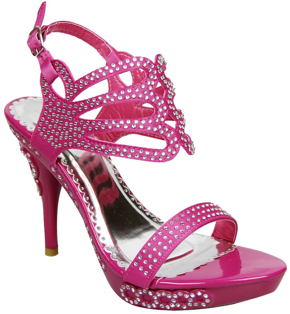 Fourever Funky Jeweled Open Toe Strappy Rhinestone Platform High Heel Sandal Shoes B00RYS0LCS 5 M US|Pink