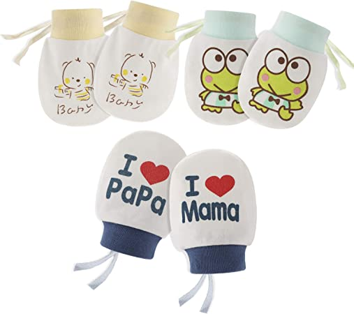 1 Pair Warm Cute Cartoon Baby Infant Boys Girls Anti Scratch Mittens Soft Gloves