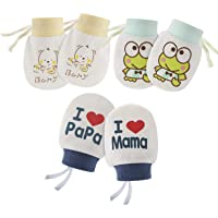 Hifot Guantes de algodón para bebés recién nacidos Sin mitones de Scratch 3 pares, Infant Toddler Boys Girls mitones…
