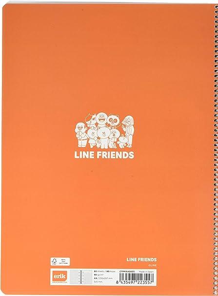 5x5 perfetto per scuole elementari Erik/® microperforato medie e superiori Quaderno appunti a quadretti Friends A4