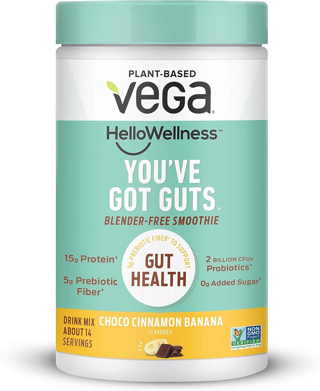Vega Hello Wellness You've Got Guts Blender Free Smoothie, Choco Cinnamon Banana (14 Servings, 14.3oz) - Plant Based Vegan Protein Powder, 5g Prebiotic Fiber, 0g Added Sugar
