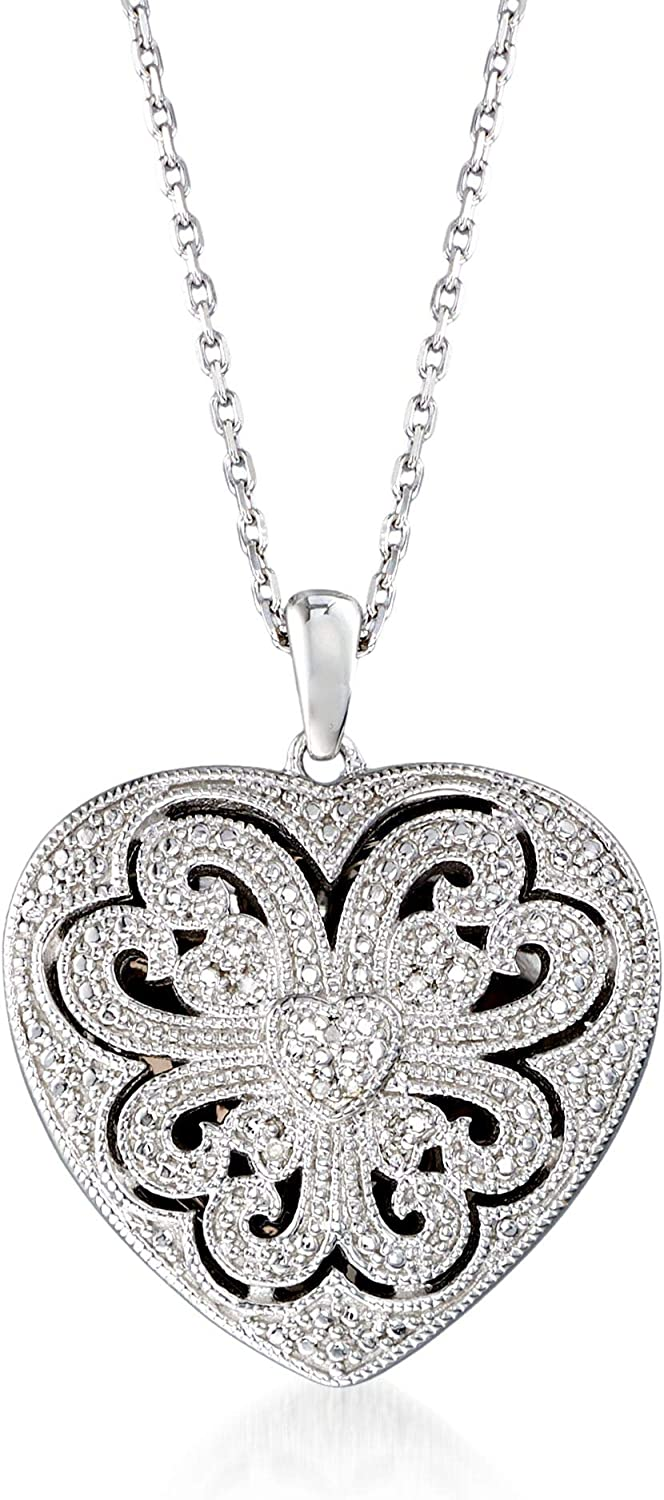 Ross-Simons Sterling Silver Scrolled Heart Locket Necklace With Diamond Accents