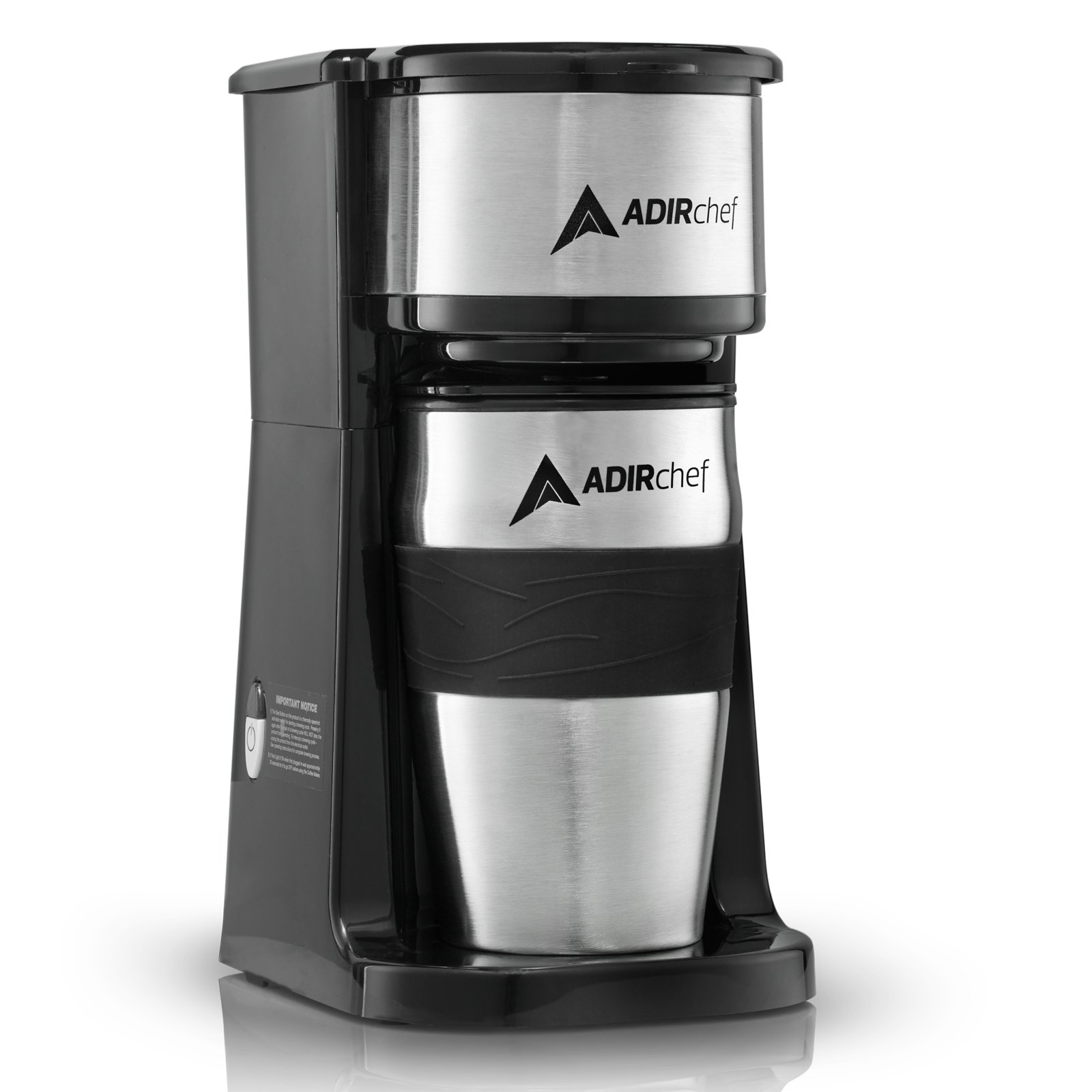 AdirChef Grab N' Go Personal Coffee Maker with 15 oz. Travel Mug, Black/Stainless Steel by AdirChef