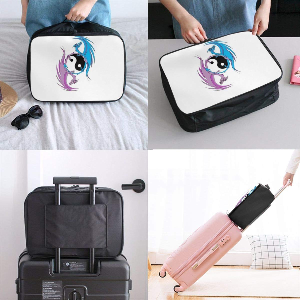 Dragon Yin Yang Customize Casual Portable Travel Bag Suitcase Storage Bag Luggage Packing Tote Bag Trolley Bag