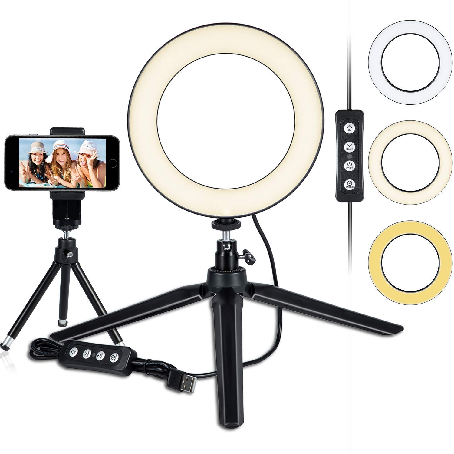 LED Ring Light 6'' with Tripod Stand for YouTube Video and Makeup, Mini LED Camera Light with Cell Phone Holder Desktop LED Lamp with 3 Light Modes & 11 Brightness Level (6'')