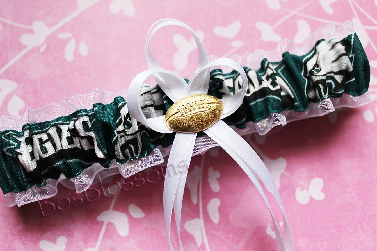 Customizable - Philadelphia Eagles fabric handmade into bridal prom white organza wedding garter with football charm