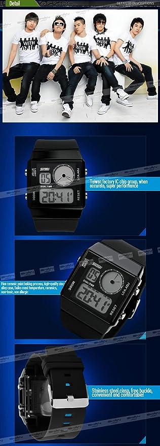 Skmei reloj Digital Unisex Hombres Ocio PU Correa de caucho impermeable colorida luz de fondo negro + Caja: SKMEI: Amazon.es: Relojes