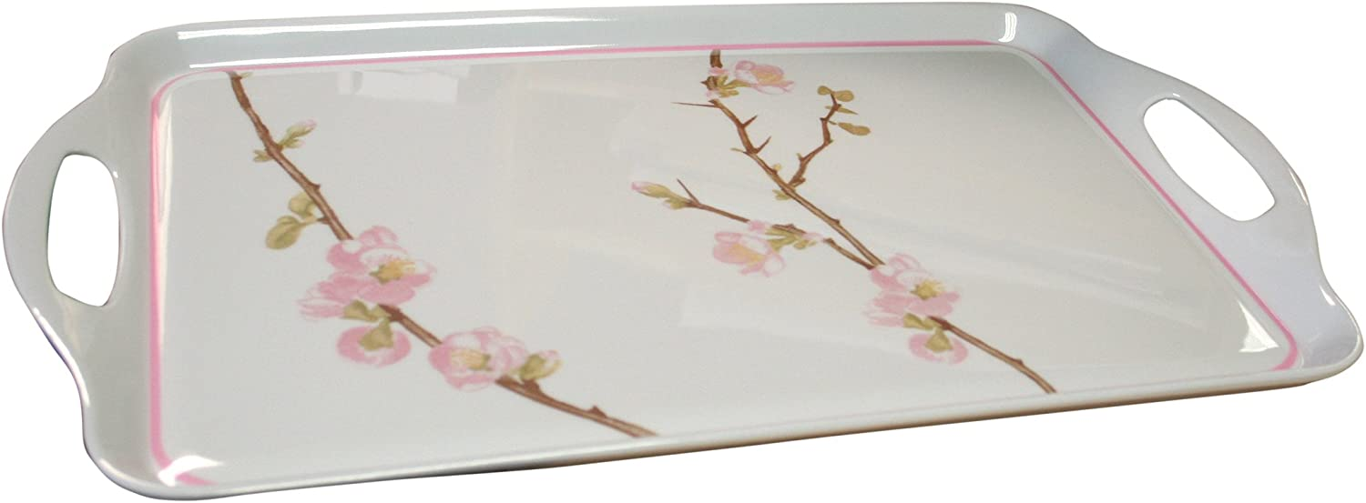 Corelle Coordinates by Reston Lloyd Melamine Rectangular Serving Tray with Handles, Cherry Blossom