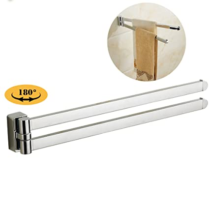 Beau Blissporte Wall Mounted Swing Towel Bar Two Swivel Out Folding Arms Towel  Rack Rail Hanger Bathroom
