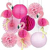 Tropical Party Decorations Pink Flamingo Party Supplies Pom Poms Paper Flowers Tissue Paper Fan Paper Lanterns for…