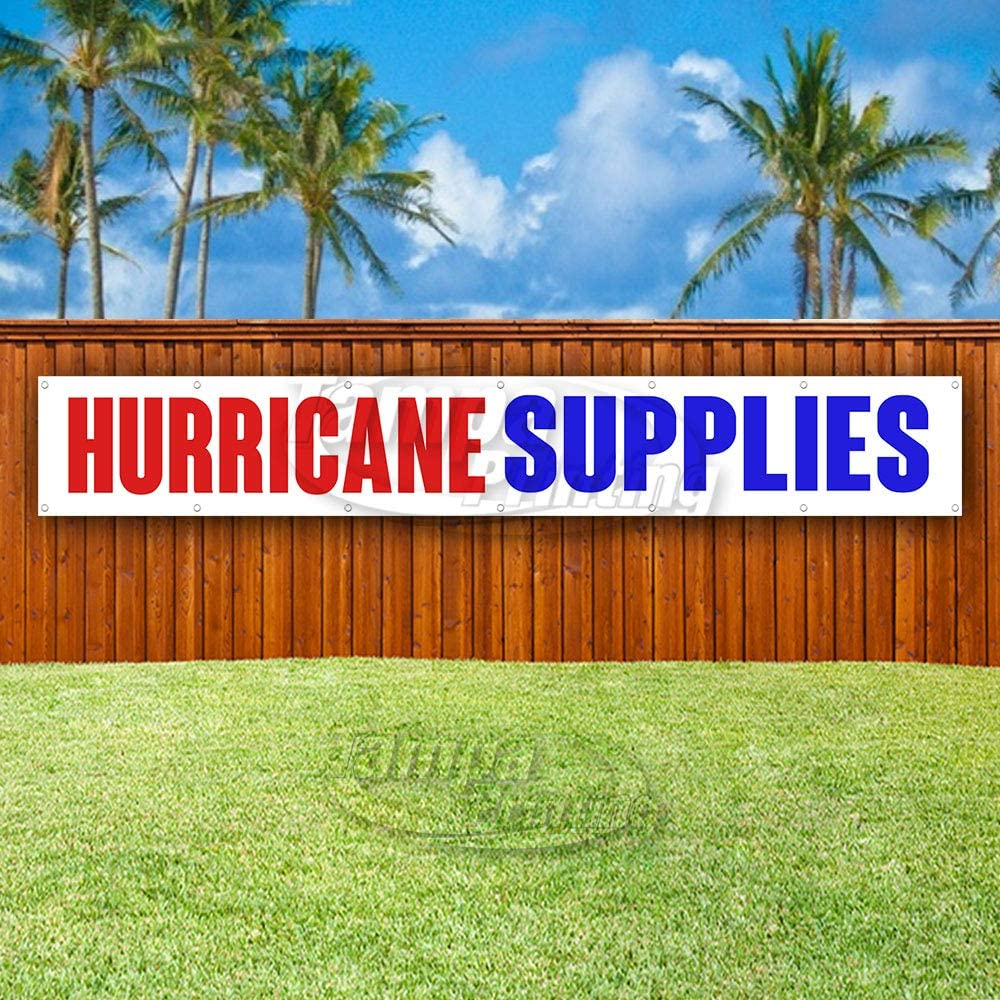 Many Sizes Available Advertising New Hurricane Supplies Extra Large 13 oz Heavy Duty Vinyl Banner Sign with Metal Grommets Store Flag,