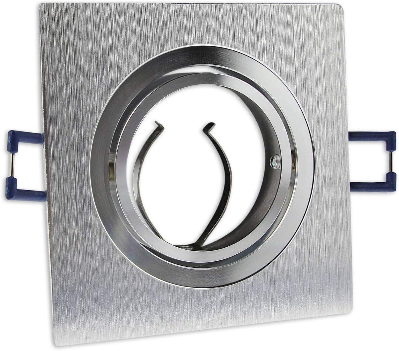 6x LED Einbaustrahler Set eckig - silber gebürstet 5 Watt neutralweiß dimmbar 230V flach (30mm Tiefe) – Einbauleuchte schwenkbar 70mm Bohrloch – Einbau-Spot neu Decken-Strahler Kaltweiß