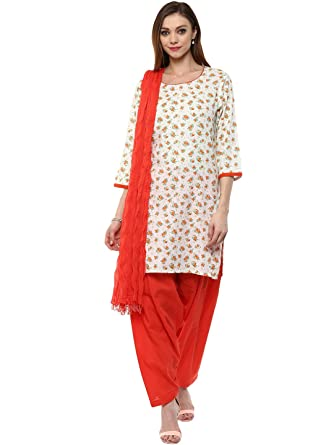 6c01ec2151 Jaipur Kurti Women's Cotton Straight Salwar Suit Set  (JKPTD2726-S_White_Small)