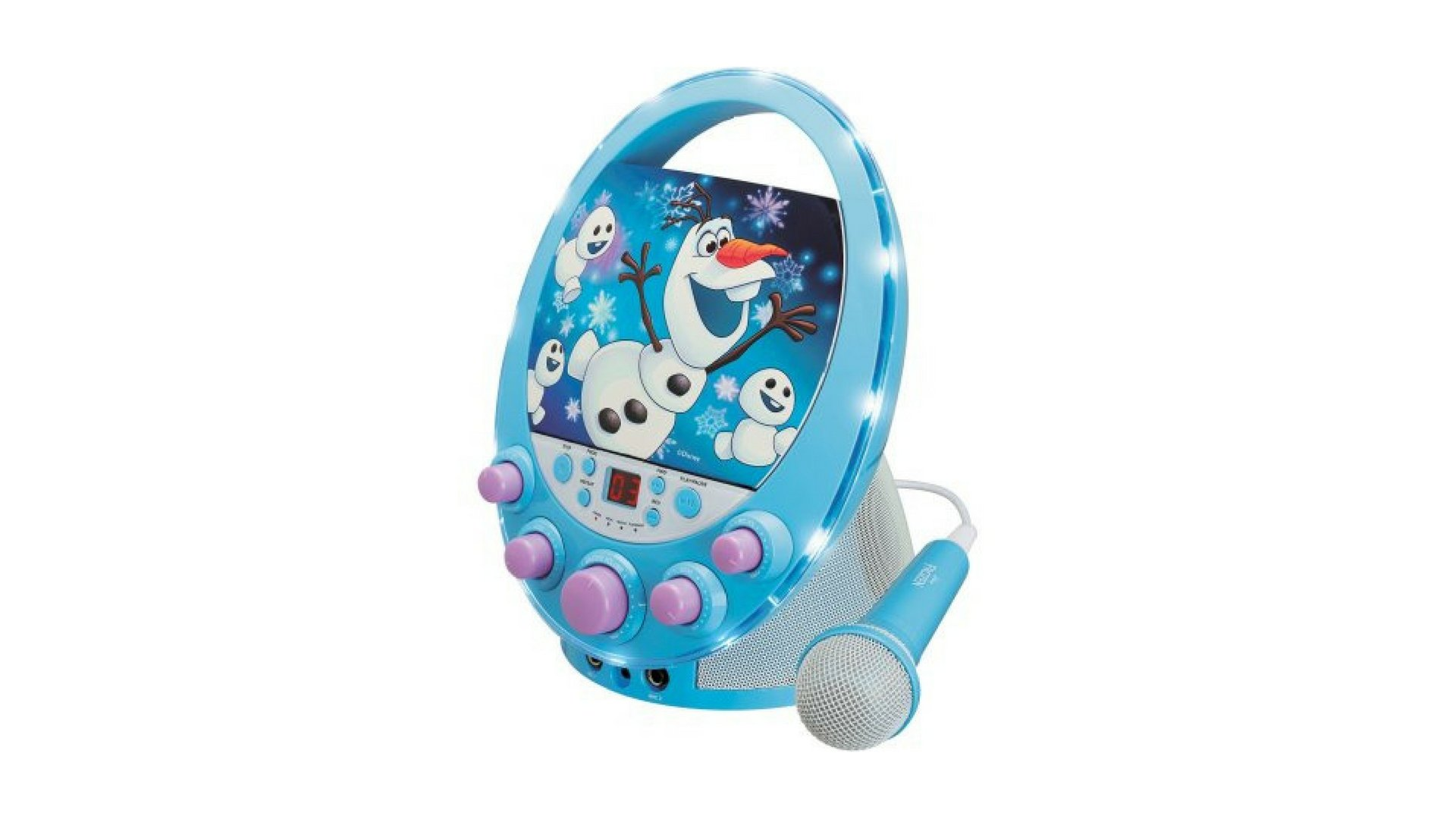 Oval Flashing Light Karaoke Features Olaf the snowman Design Microphone included