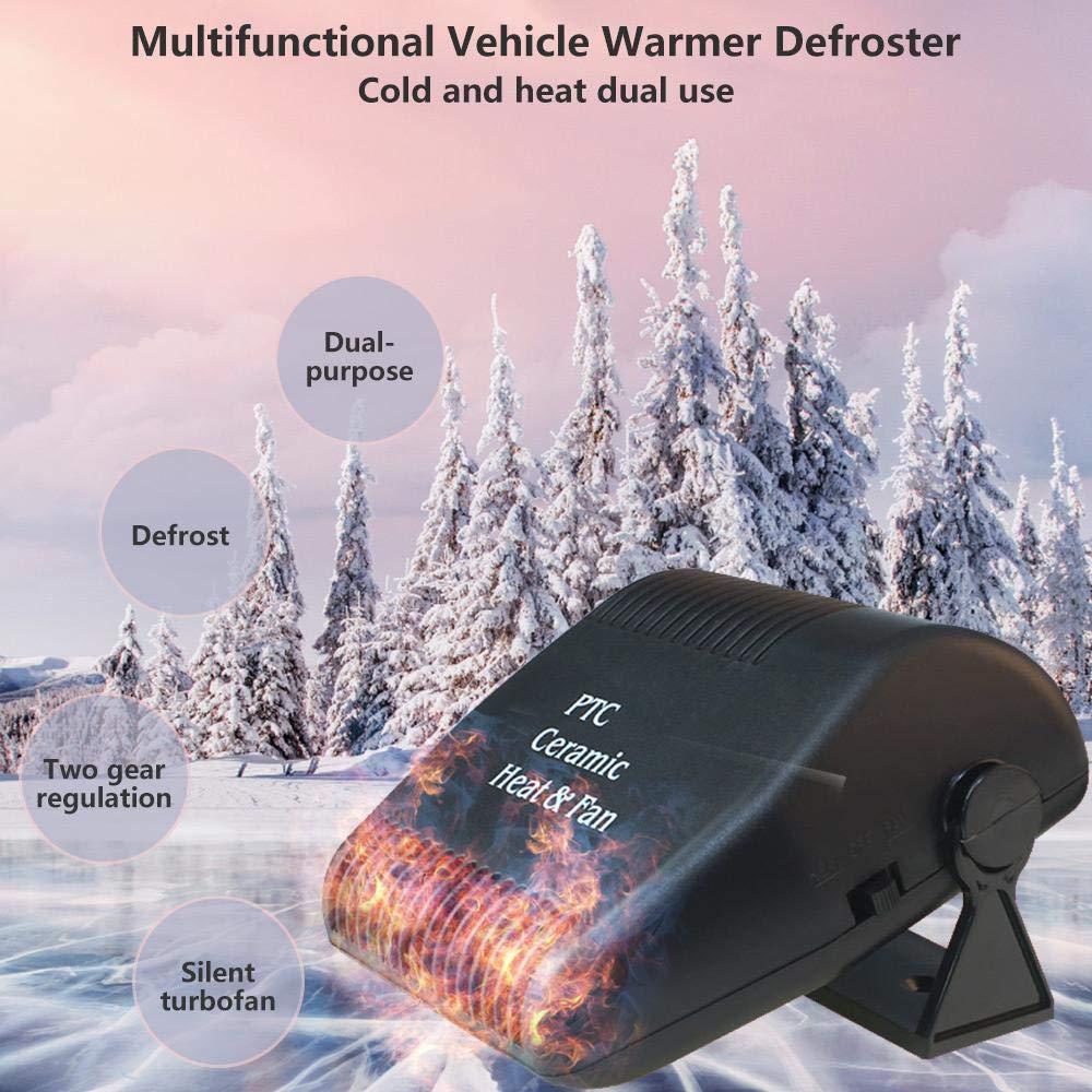 Ventola di Raffreddamento in Ceramica per Riscaldamento rapido 30s sbrinatore Automatico Antivento per Parabrezza 150W con Base Girevole a 180 /° Black Lesgos Riscaldatore per Auto Portatile 12V