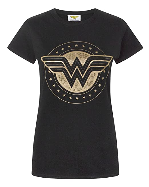 Wonder Woman Foil Shield Womens T-Shirt ...