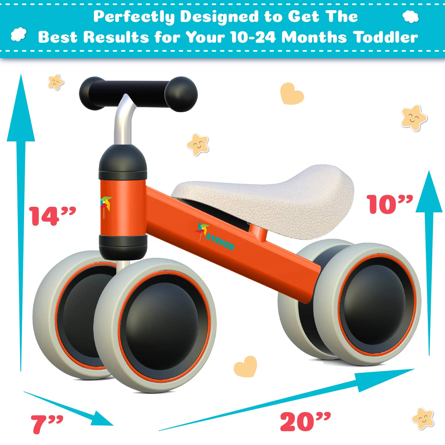 Avenor Baby Balance Bike - Baby Bicycle for 6-24 Months, Sturdy Balance Bike for 1 Year Old, Perfect as First Bike or Birthday Gift, Safe Riding Toys for 1 Year Old Boy Girl Ideal Baby Bike (Orange) by Avenor (Image #7)