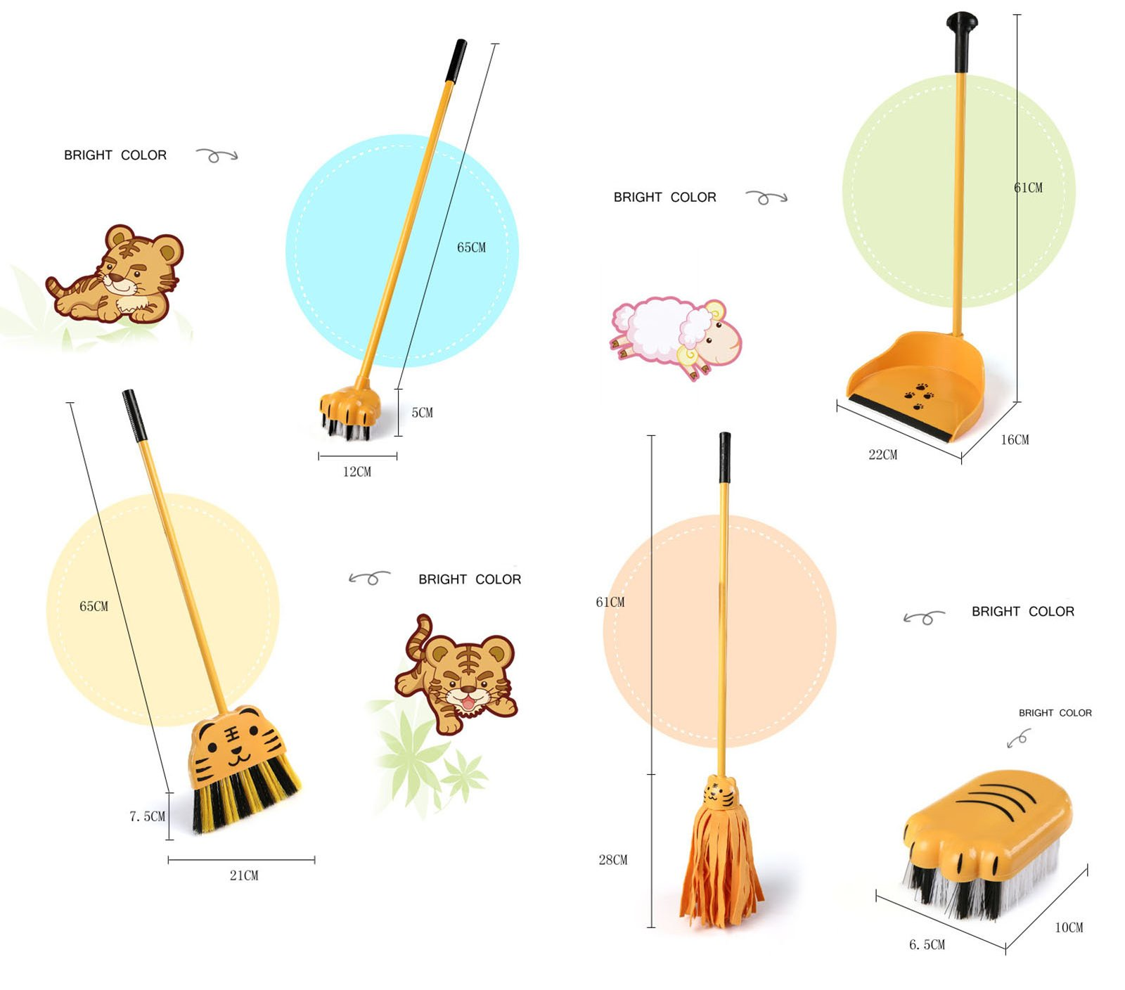 Aboo 5 Pieces Removable Cute Cleaning Tool Set Mop Dustpan Broom Brush and Long Handle Brush Animal Pattern for Children Classroom Home (Brown) by Aboo (Image #2)