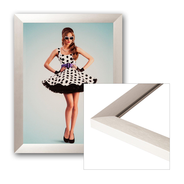 Bilderrahmen Aluminium 80x100cm Silber matt gebürstet mit Glasscheibe, Rückwand und Aufhänger für Hoch- und Querformat - alle Standardgrößen - Fotorahmen, Galerierahmen, Wechselrahmen, Posterrahmen