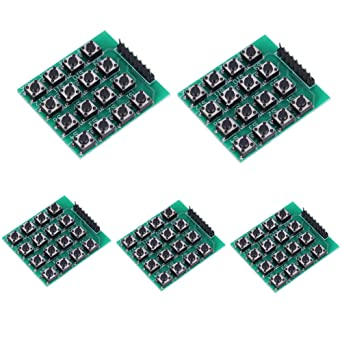 Akozon Módulos de teclado con 16 teclas pulsadores 4x4 matriz, Teclado externo para MCU, para Arduino WIshioT 5pcs