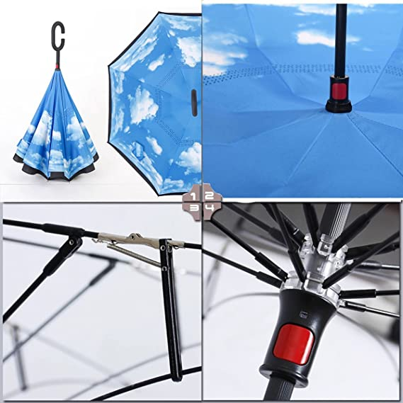 ... innovador paraguas a prueba de viento Reverse plegable doble capa Sol Bloque Medio Ambiente bumbershoot, azul celeste: Amazon.es: Deportes y aire libre