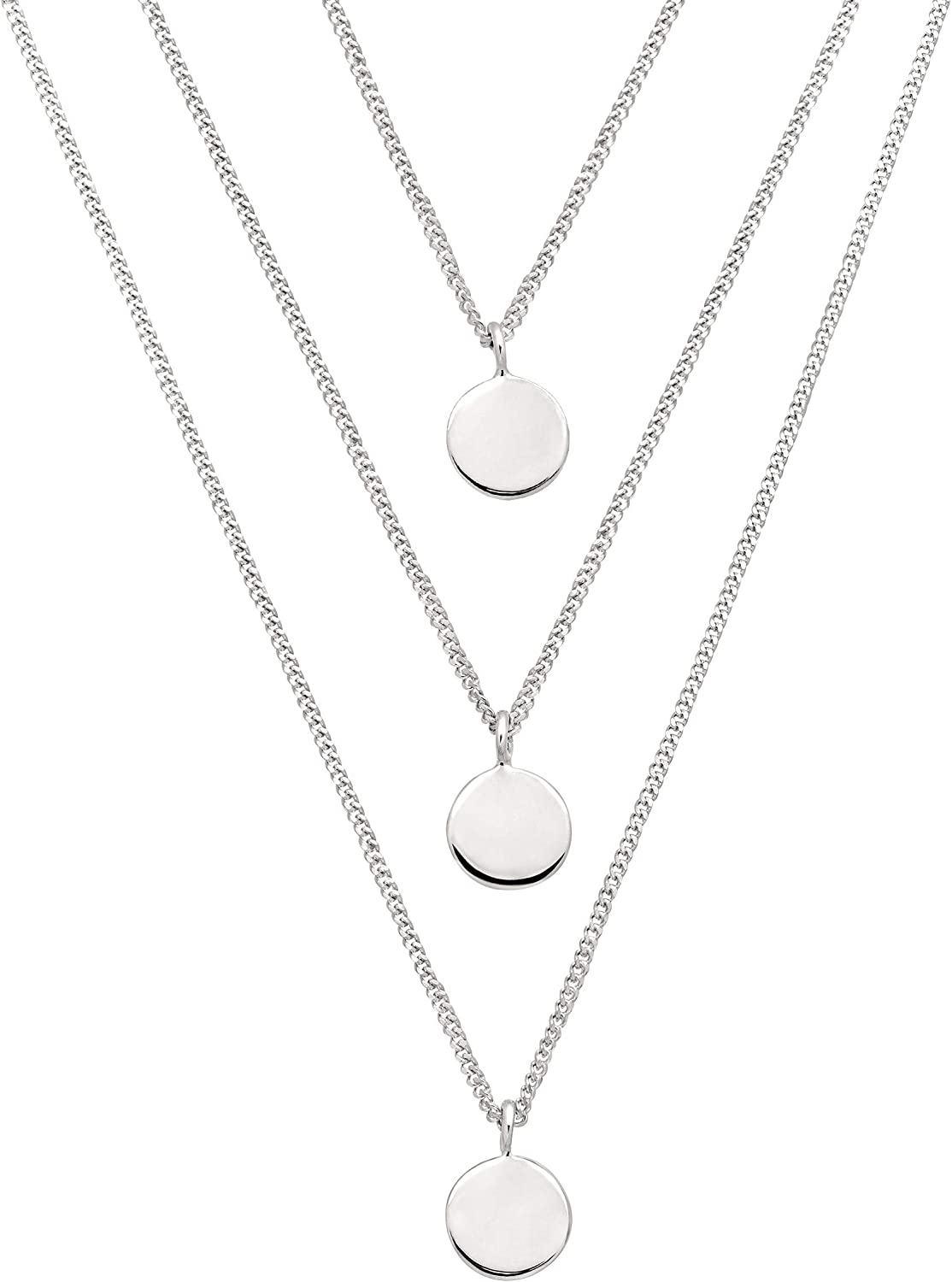 2 CZ Circle Discs Station Necklace Sterling Silver 16