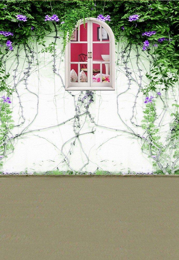 A Monamour Green Plant Vineクロールon壁ガーデンシーンシンファブリックStudio小道具写真背景   B01KTOCBF8