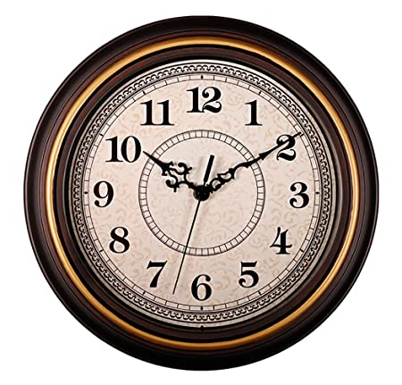 AIOLOC Decorative Vintage Style Wall Clock Silent Non-Ticking Round 12 Inch Imitate Wooden Wall Clocks Goldrim