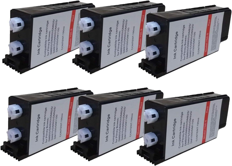 KLDink 767-8, 7668, 7678 6-Pack Replacement for Pitney Bowes 766-8 Red Postage Ink for Use in: DM1000//DM800//DM800i//DM825//DM875//DM900//DM925