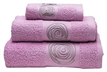 Sancarlos Juego de toallas bordadas Nudos , Algodón, Rosa, 3 piezas