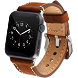Apple Watch Band, 38mm Iwatch Strap, Premium Vintage Crazy Horse Leather Replacement Watchband with Secure Metal Clasp, Classic Buckle Leather Strap Wrist Band for Apple Watch (Brown)