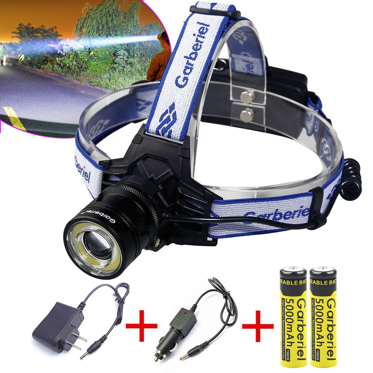 LED Headlamp 2000 Lumens T6 Headlight Zoomable Waterproof Tactical Light Lamp for Camping Hiking Running Batteries and Charger Include WishDeal