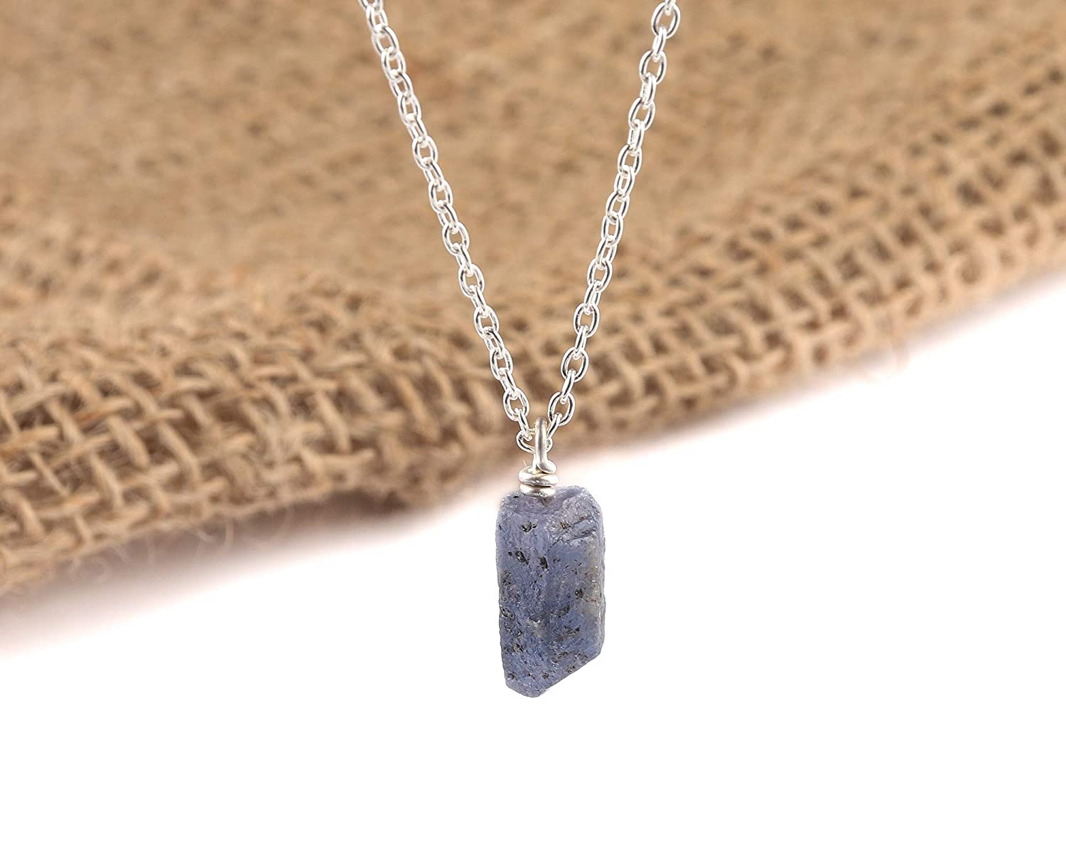 Sterling Silver Blue Sapphire Stone Necklace BODY CHAIN SEPTEMBER Birth-stone